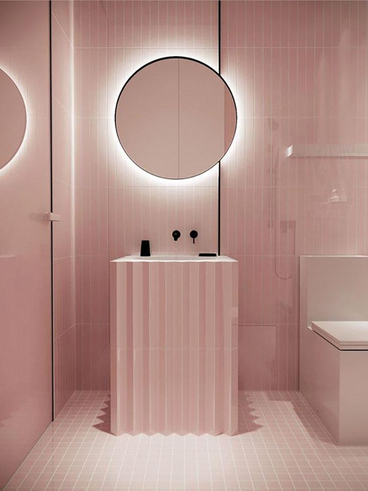 Arredi per bagno rosa 01