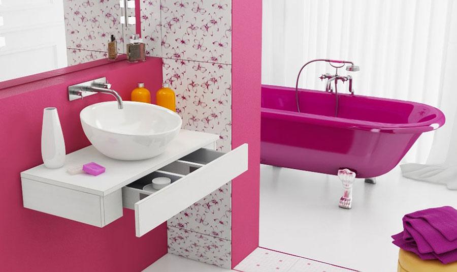 Arredi per bagno rosa 12