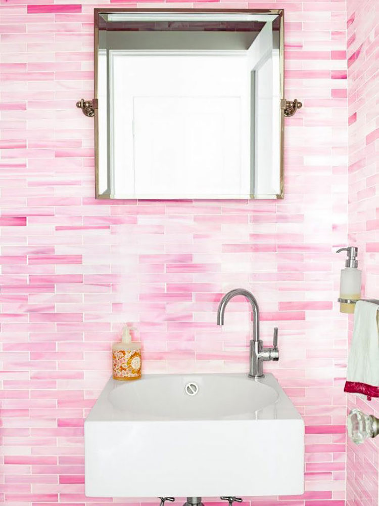Piastrelle per bagno rosa 04