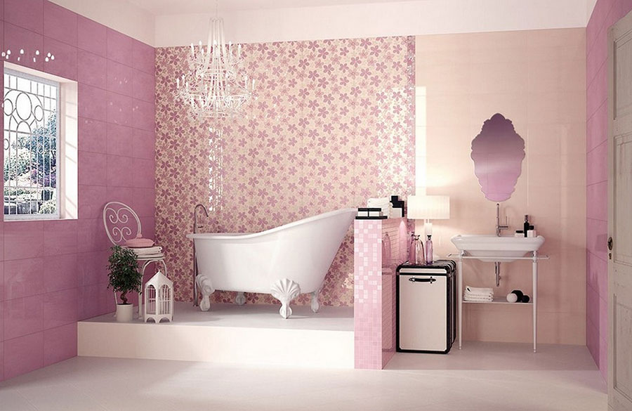 Piastrelle per bagno rosa 05