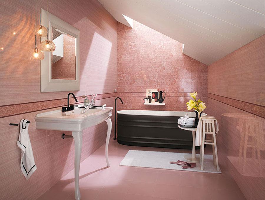 Piastrelle per bagno rosa 06