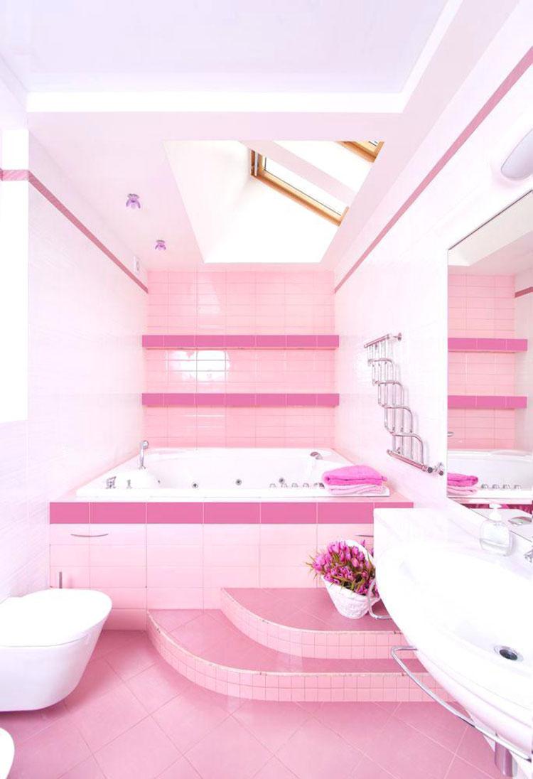 Piastrelle per bagno rosa 07