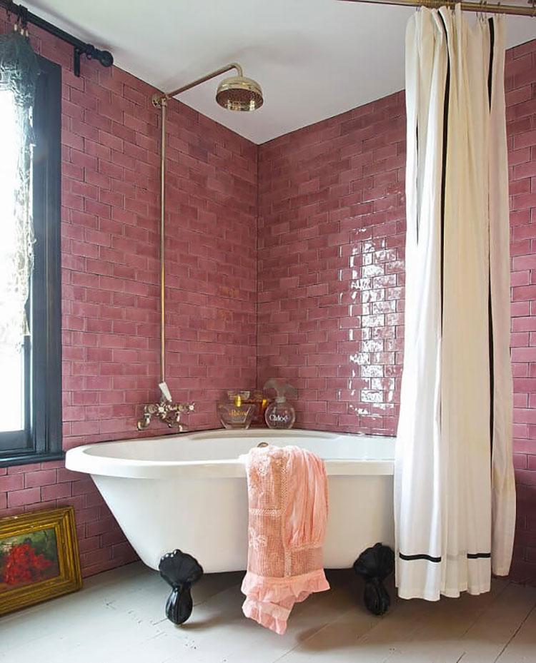 Piastrelle per bagno rosa 08