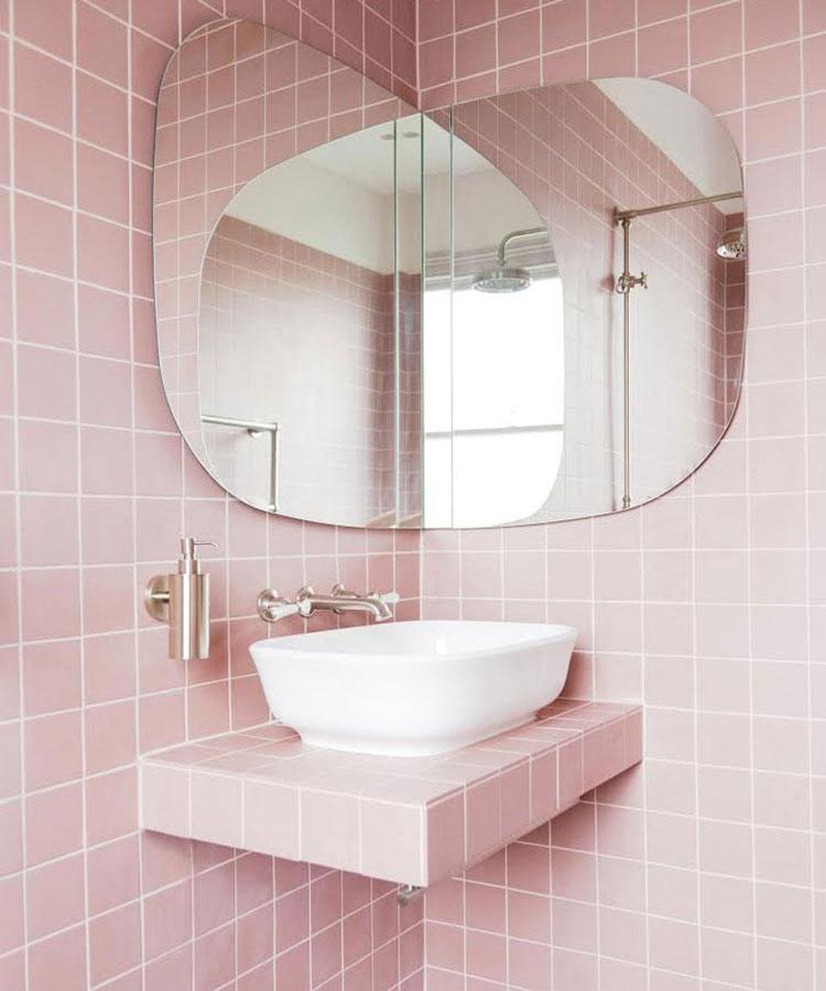 Piastrelle per bagno rosa 09