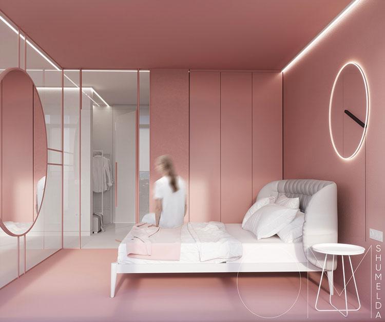 Idee per arredare una camera da letto rosa n.03