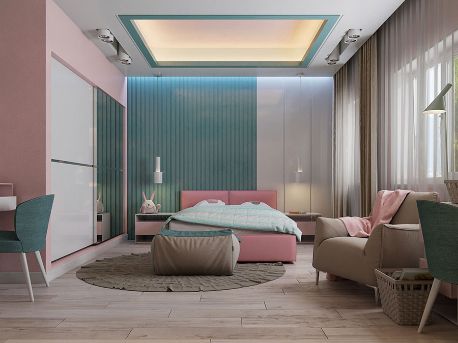 Colori rosa e blu per la camera da letto 2