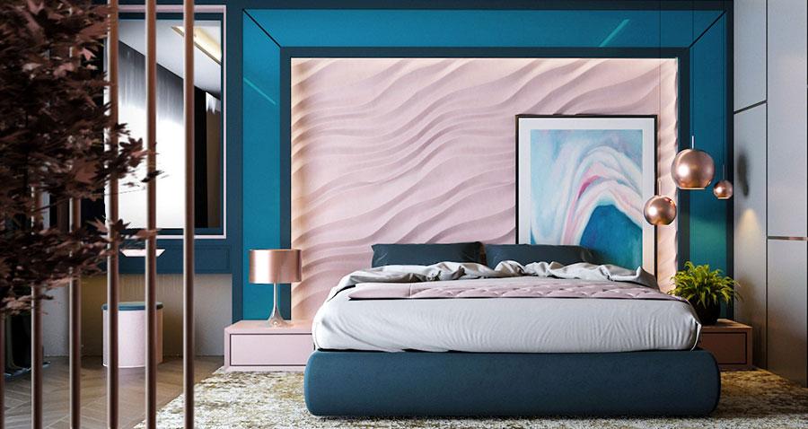 Colori rosa e blu per la camera da letto 1