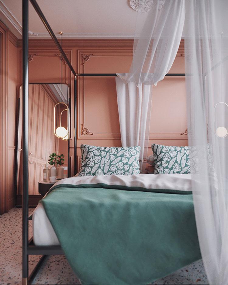 Idee per arredare una camera da letto rosa n.11