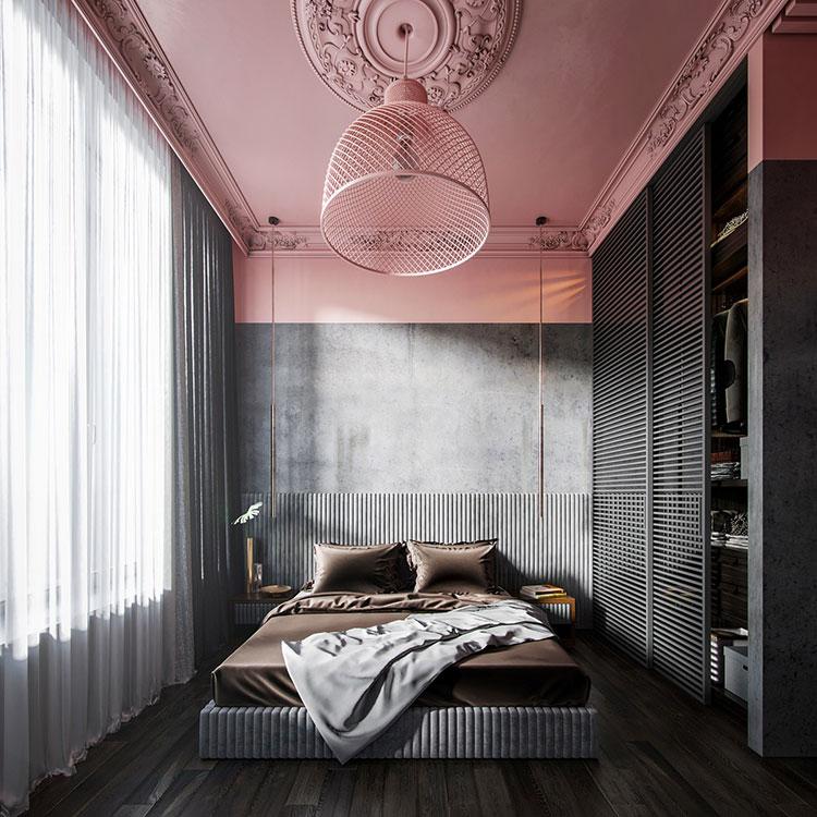 Colori grigio e rosa per la camera da letto