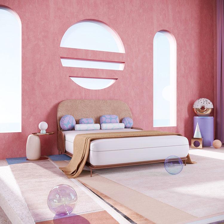 Idee per arredare una camera da letto rosa n.14
