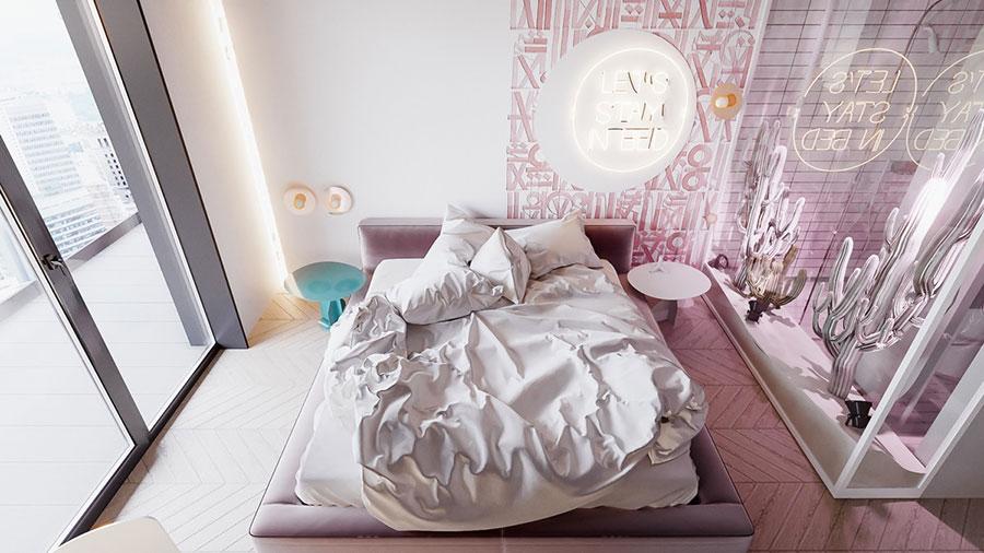 Idee per arredare una camera da letto rosa n.23