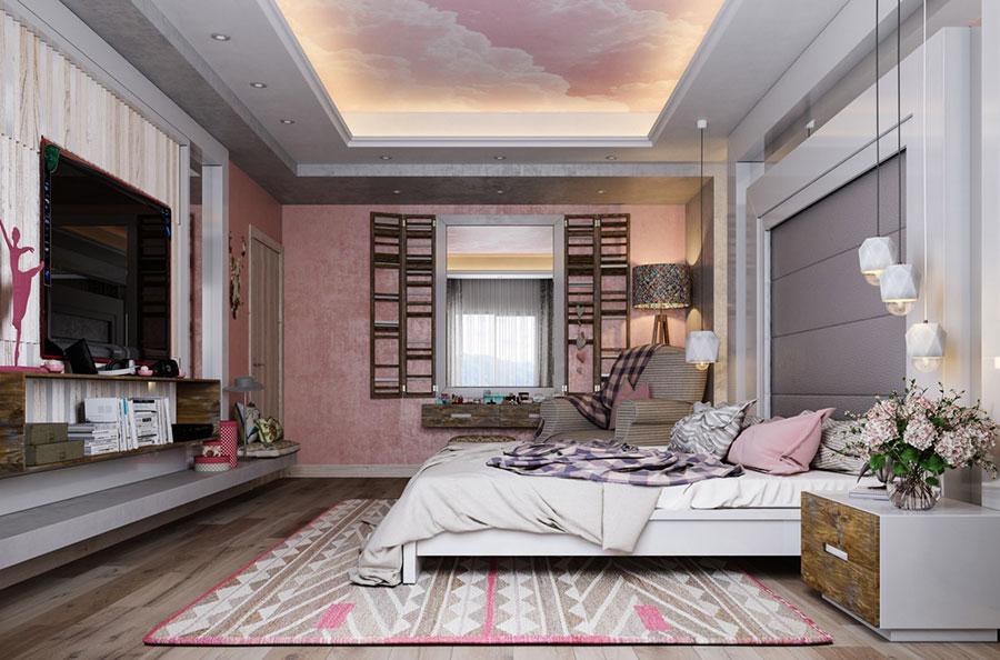 Idee per arredare una camera da letto rosa n.28
