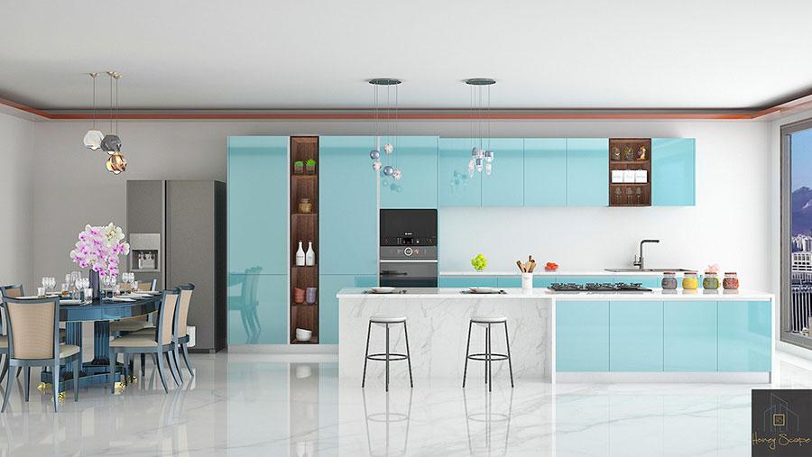 Modello di cucina moderna per casa al mare 07