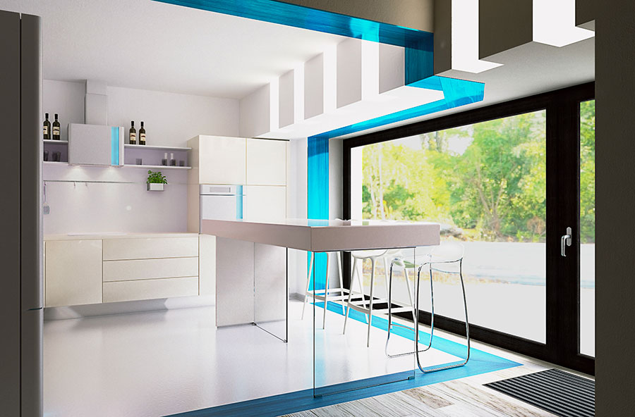 Modello di cucina moderna per casa al mare 08