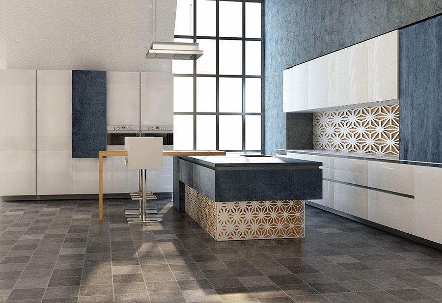 Modello di cucina moderna per casa al mare 09