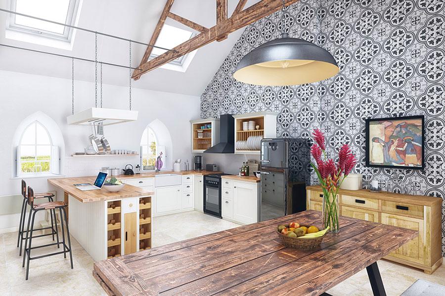 Modello di cucina rustica per casa al mare 01