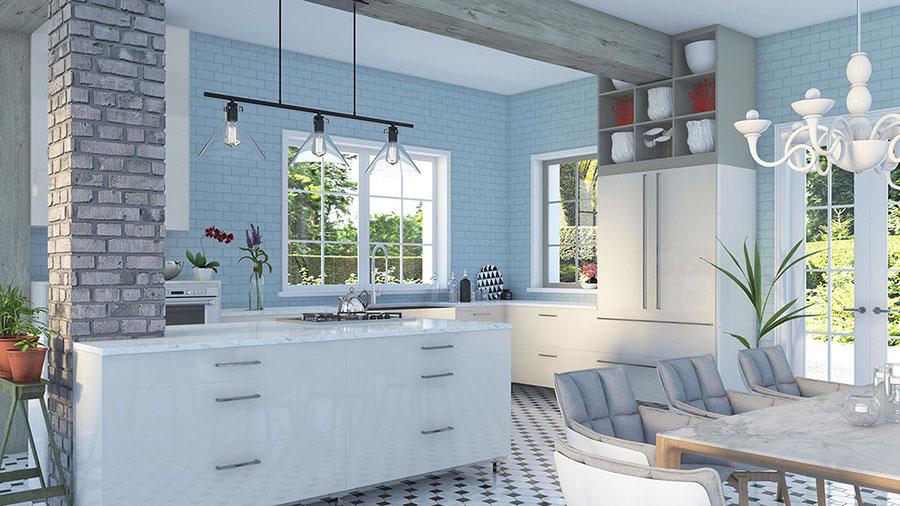 Modello di cucina rustica per casa al mare 03
