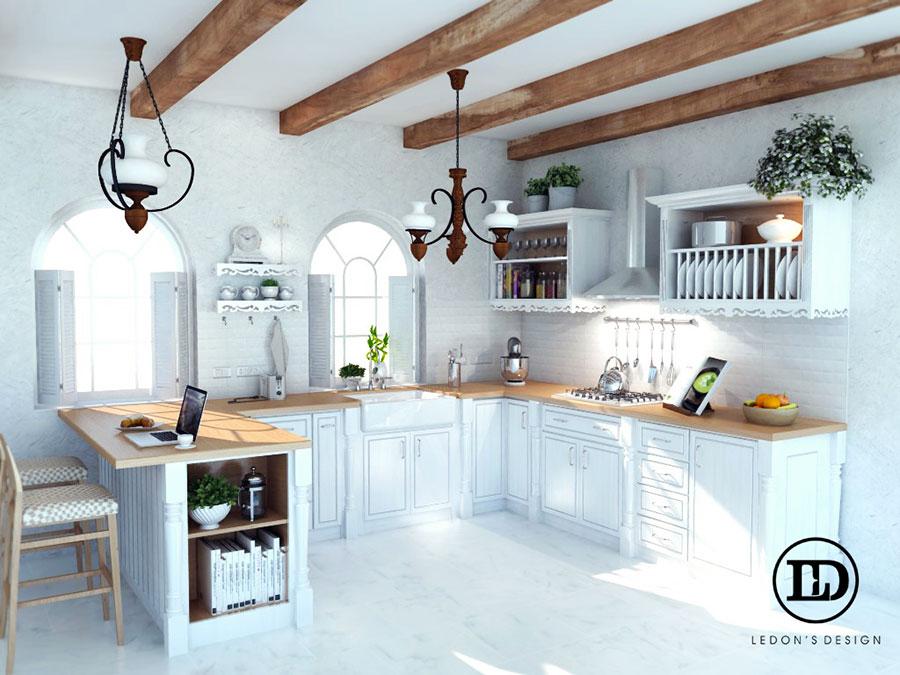 Modello di cucina rustica per casa al mare 05