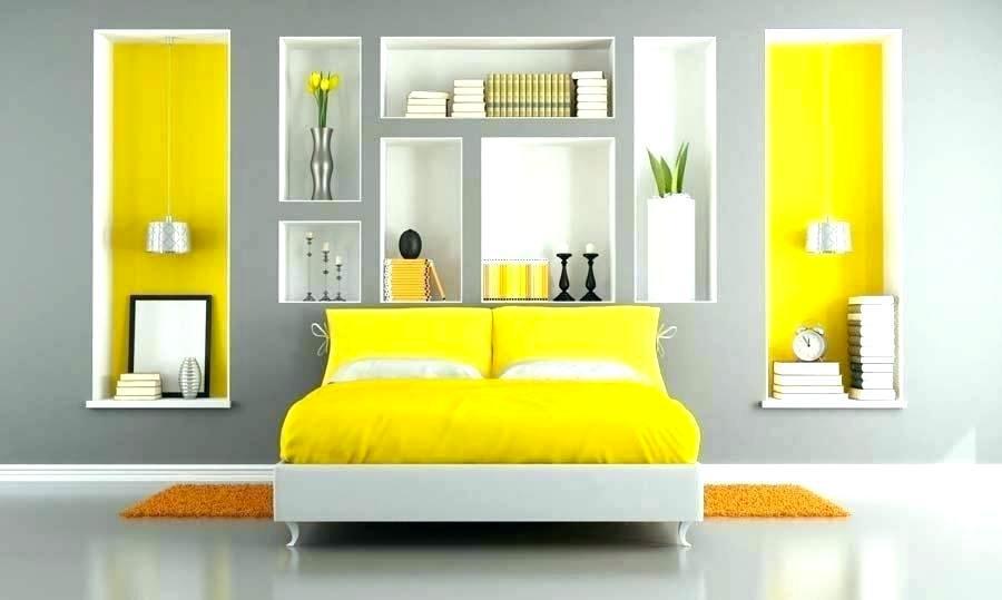Colori grigio e giallo per la camera da letto 1