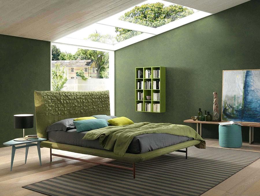 Colori verde e beige per la camera da letto 1