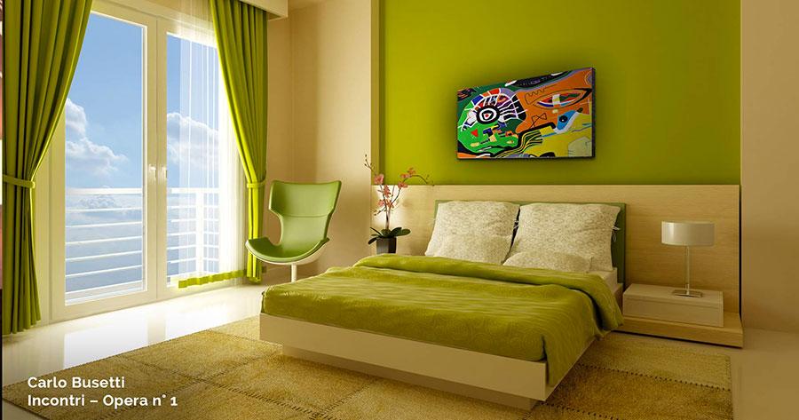 Idee per pareti verde e beige per la camera da letto