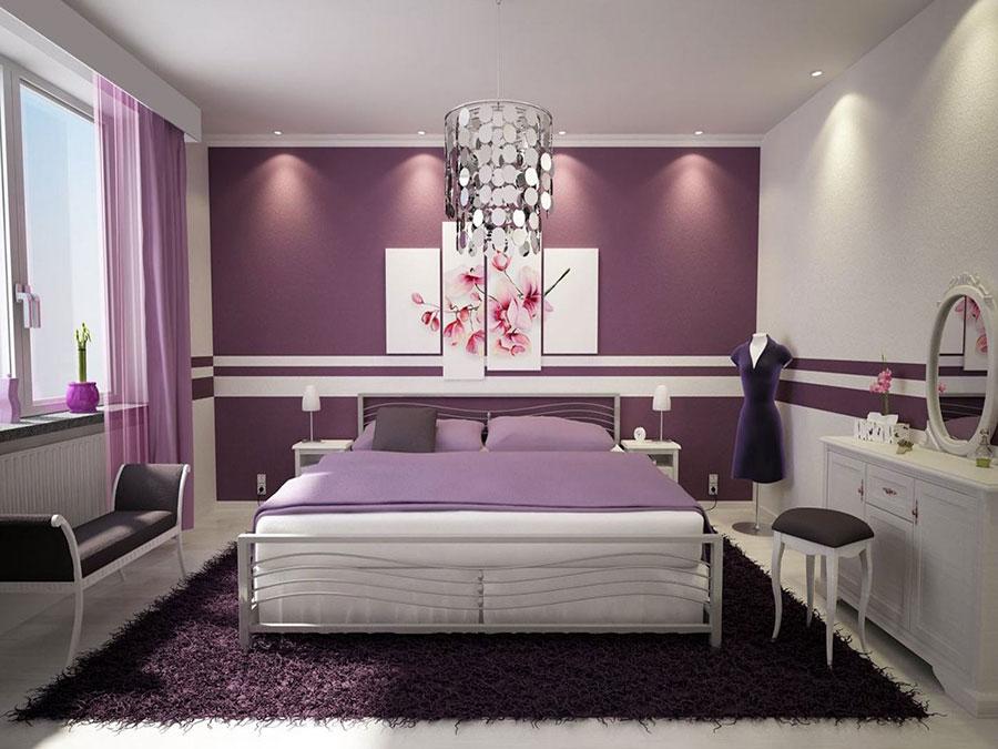 Colori viola e bianco per la camera da letto
