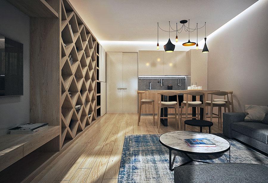 Idee per arredare un soggiorno con cucina a vista n.05