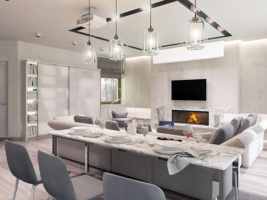 Idee per arredare un soggiorno con cucina a vista n.07