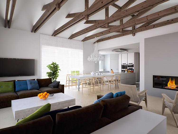 Idee per arredare un soggiorno con cucina a vista n.24