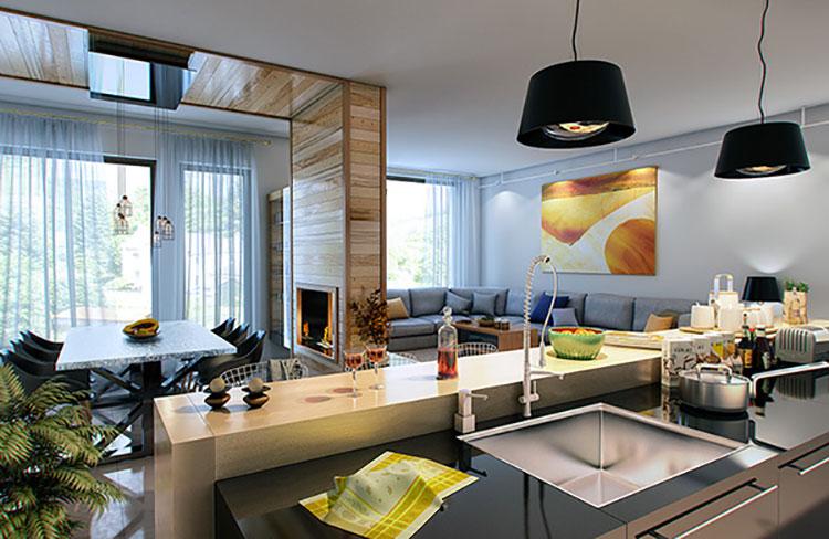 Idee per arredare un soggiorno con cucina a vista n.38