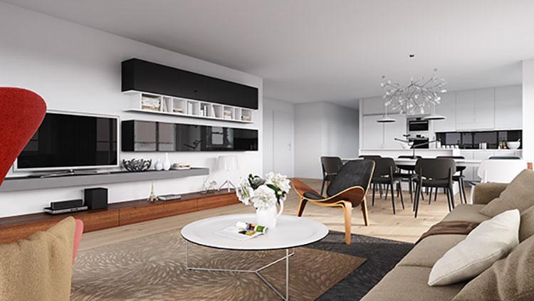 Idee per arredare un soggiorno con cucina a vista n.40