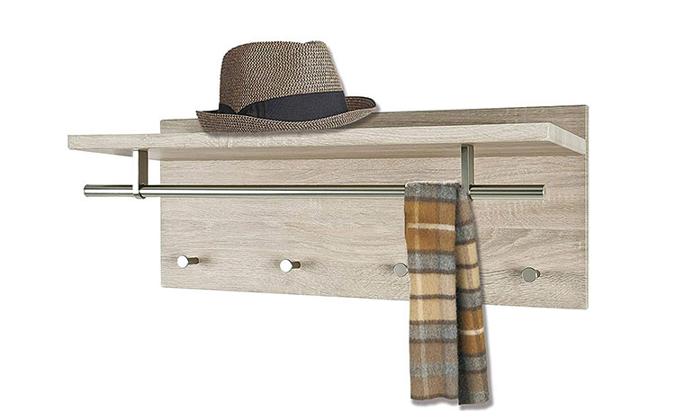 Modello di appendiabiti da parete in legno con mensola n.02