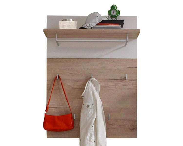 Modello di appendiabiti da parete in legno con mensola n.03
