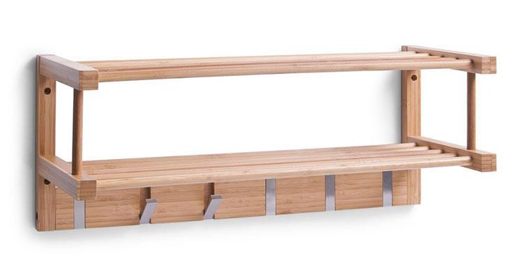 Modello di appendiabiti da parete in legno con mensola n.06