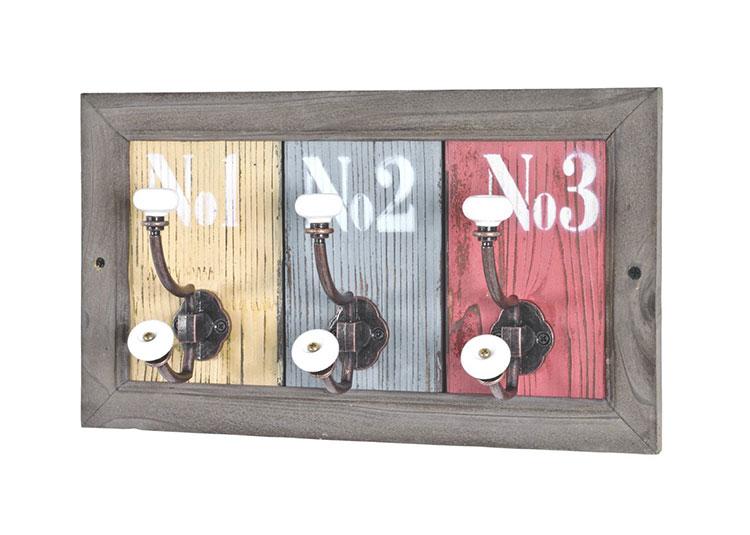 Modello di appendiabiti da parete in legno in stile vintage n.03
