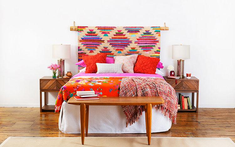 Testiera letto fai da te con tappeto