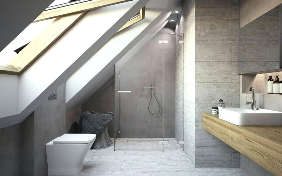 Progetto di un bagno in mansarda con doccia 1