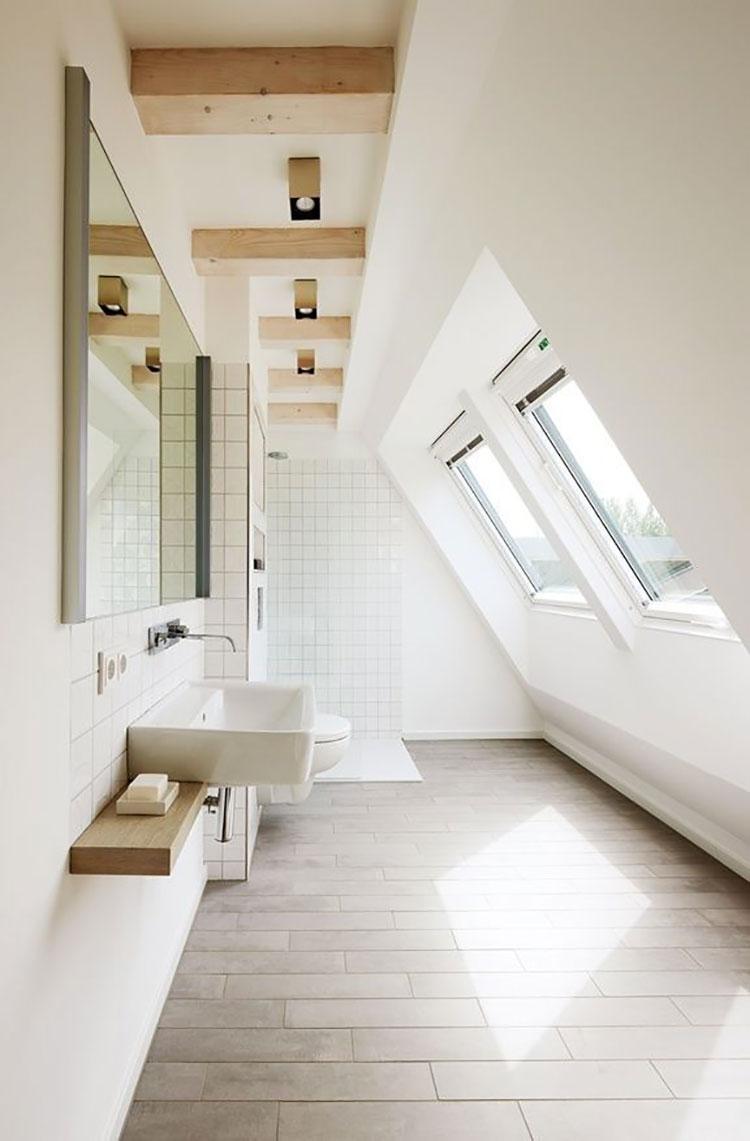 Progetto di un bagno in mansarda con doccia 3