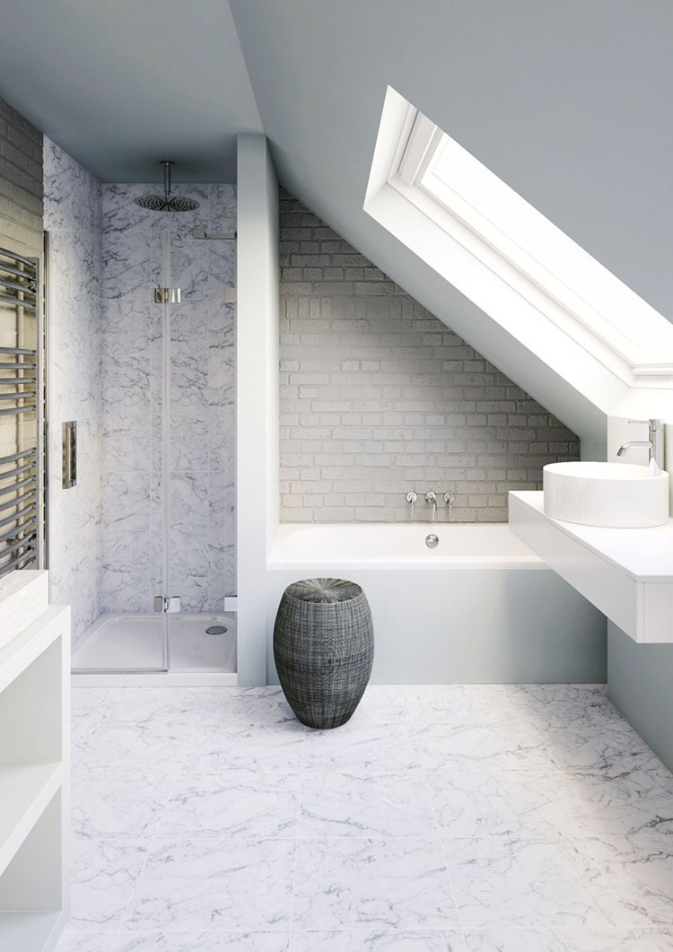 Progetto di un bagno in mansarda 3