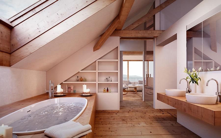Progetto di un bagno in mansarda con vasca 1