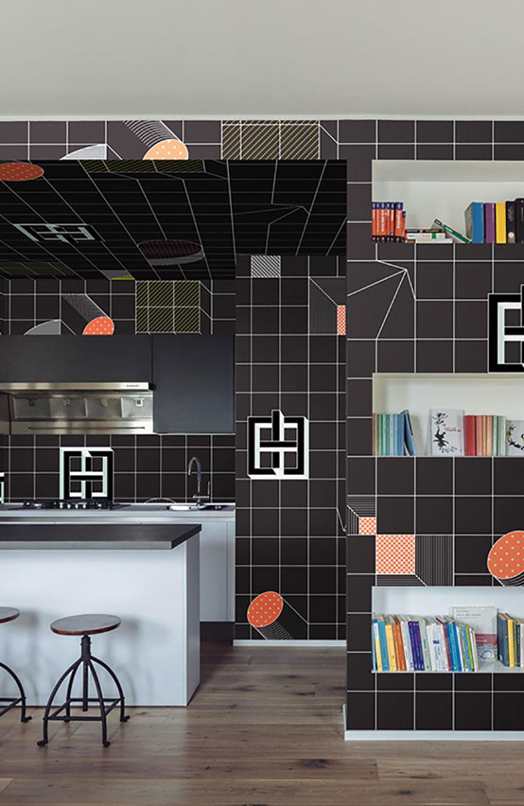 Carta da parati per cucina motivo 3D n.1