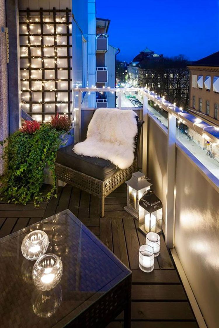 Idee per abbellire un terrazzo con le luci n.4