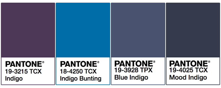 Gradazioni del colore indaco Pantone