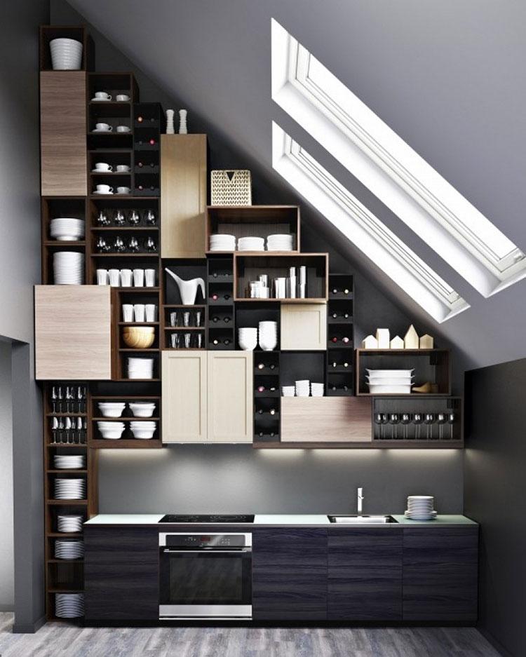 Idee per arredare la cucina in mansarda con Ikea n.02