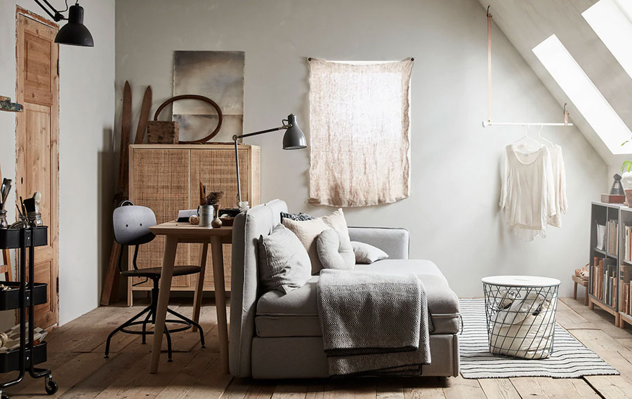Idee per arredare il soggiorno in mansarda con Ikea n.05