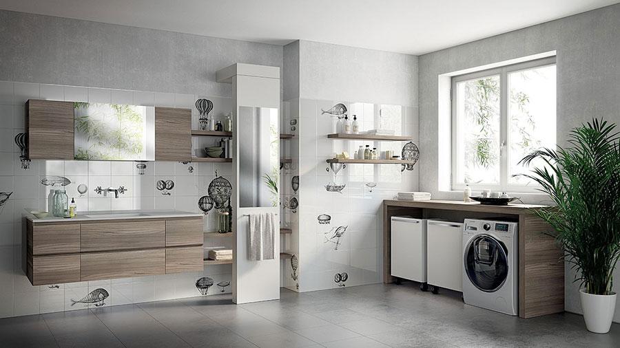 Idee per creare un bagno con lavanderia incassata n.1