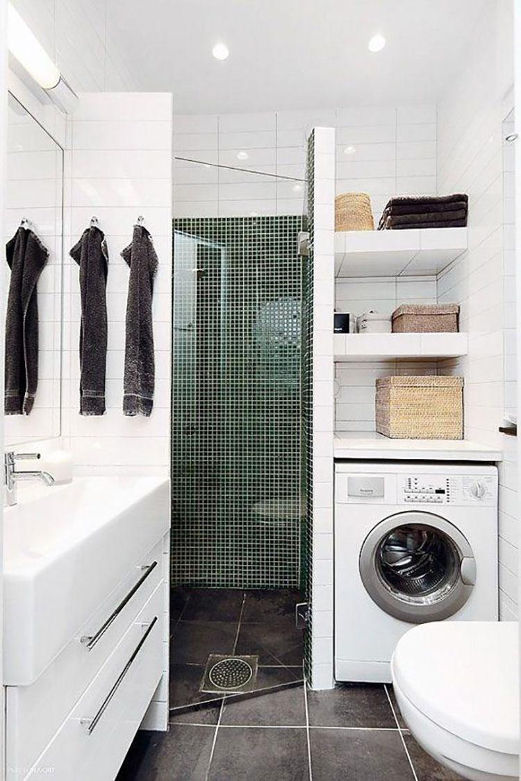 Idee per creare un bagno con lavanderia incassata n.3