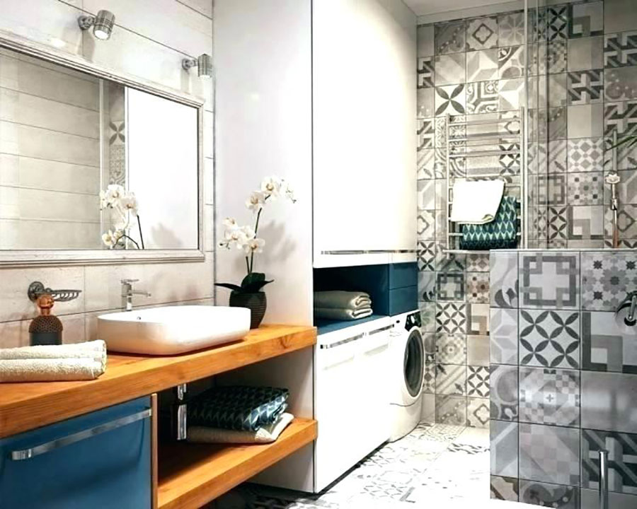 Idee per creare un bagno con lavanderia incassata n.4