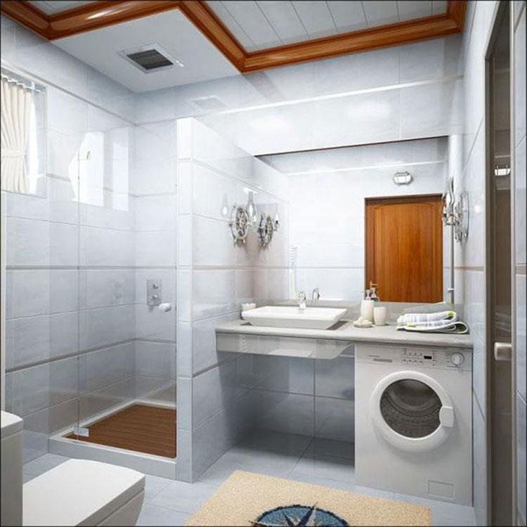 Idee per creare un bagno con lavanderia incassata n.6