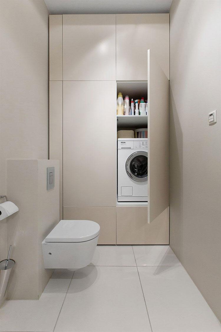 Idee per creare un bagno con lavanderia nascosta n.5